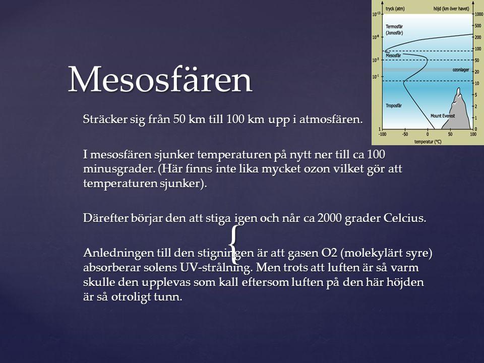 Mesosfären Sträcker sig från 50 km till 100 km upp i atmosfären.