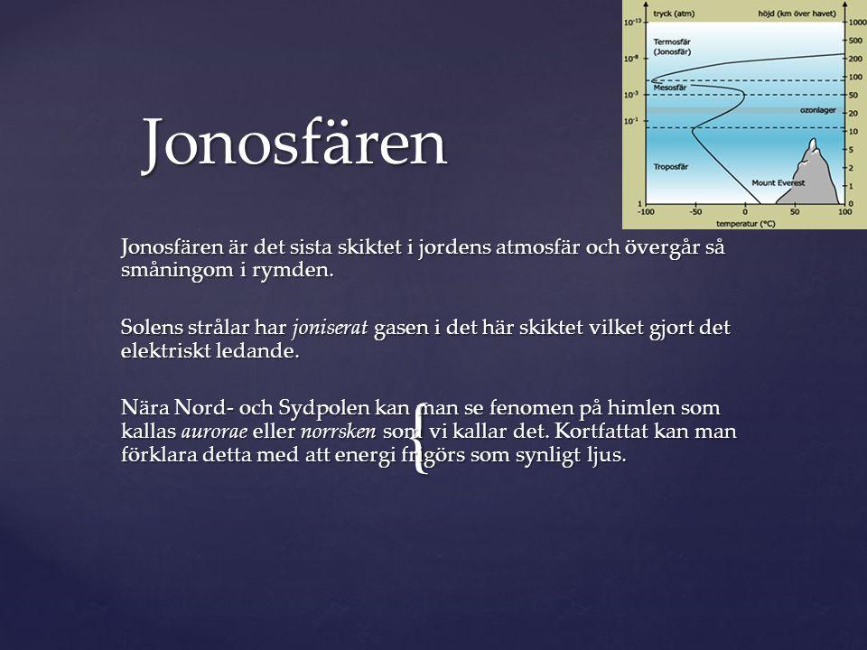 Jonosfären Jonosfären är det sista skiktet i jordens atmosfär och övergår så småningom i rymden.