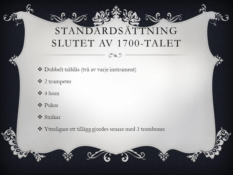 Standardsättning slutet av 1700-talet