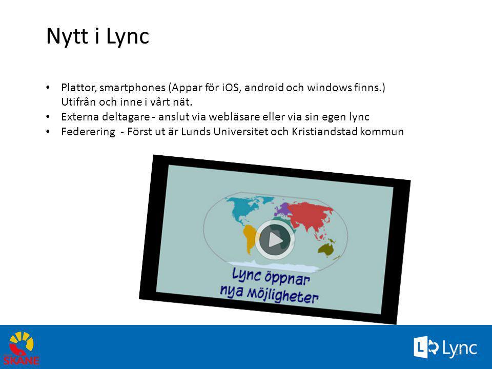 4/3/2017 2:50 PM Nytt i Lync Plattor, smartphones (Appar för iOS, android och windows finns.) Utifrån och inne i vårt nät.