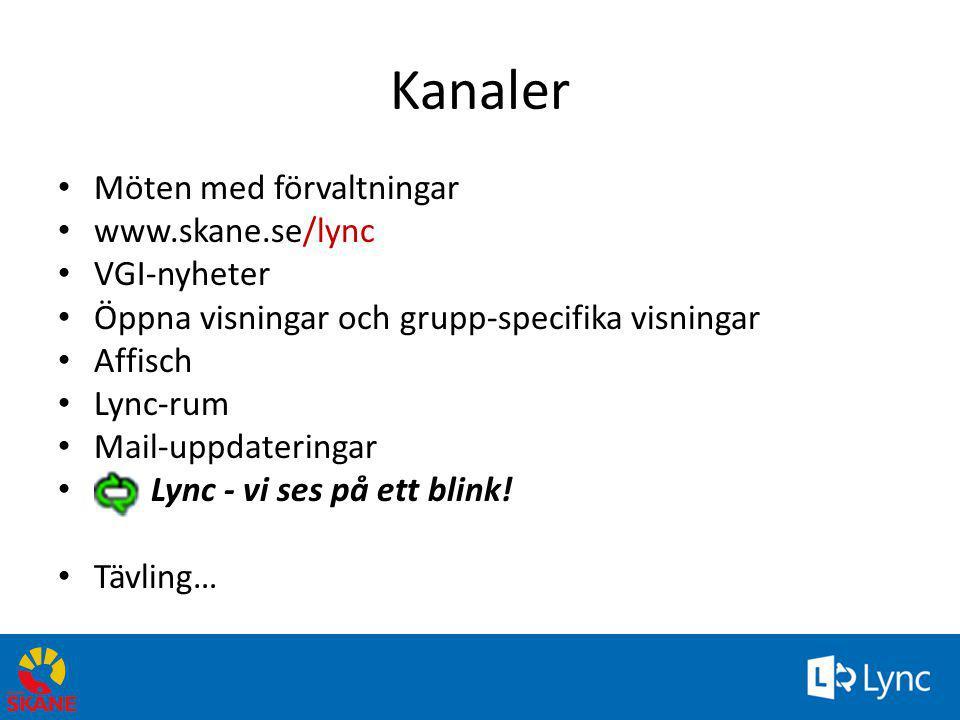 Kanaler Möten med förvaltningar www.skane.se/lync VGI-nyheter
