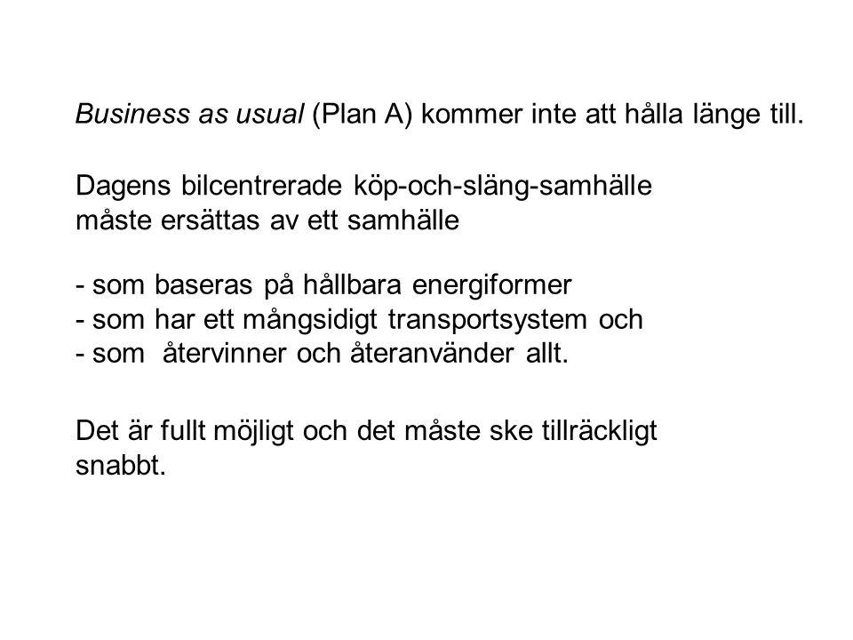 Business as usual (Plan A) kommer inte att hålla länge till.