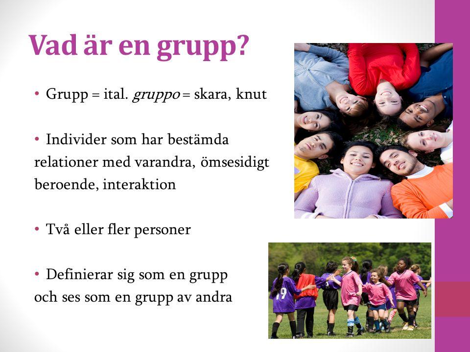 Vad är en grupp Grupp = ital. gruppo = skara, knut