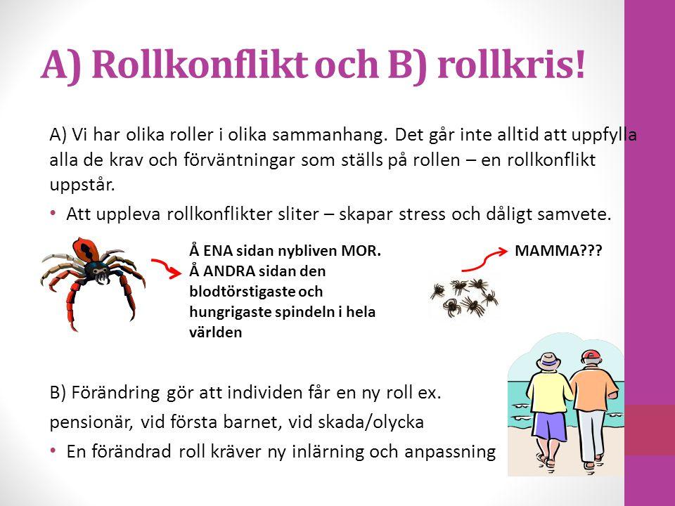 A) Rollkonflikt och B) rollkris!