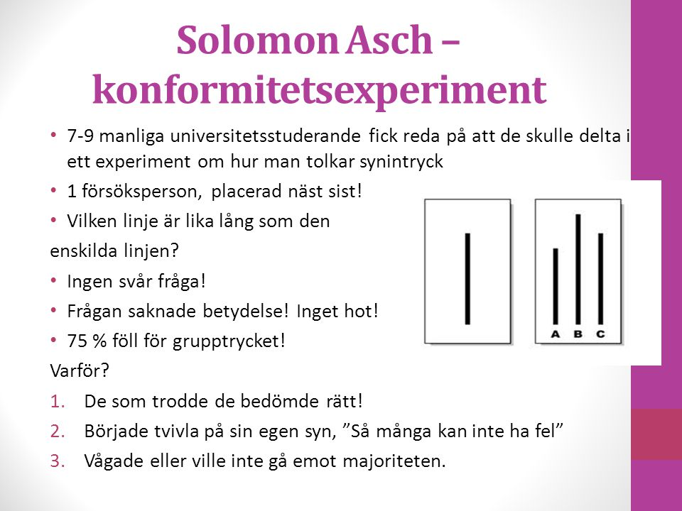 Solomon Asch – konformitetsexperiment