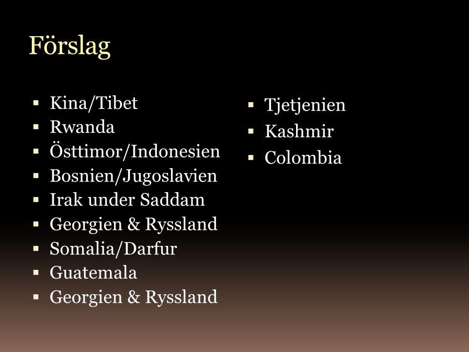 Förslag Kina/Tibet Rwanda Östtimor/Indonesien Bosnien/Jugoslavien