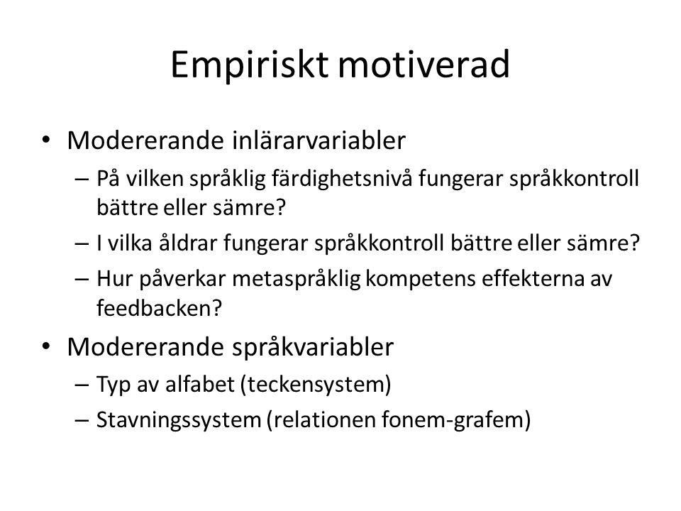 Empiriskt motiverad Modererande inlärarvariabler