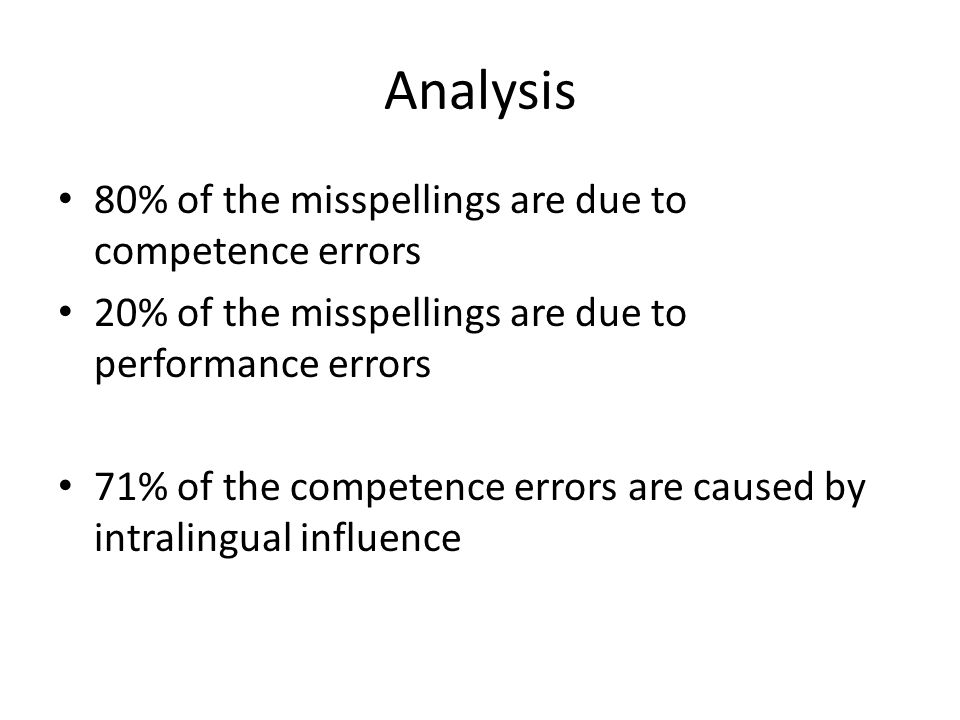 Analysis 80% of the misspellings are due to competence errors