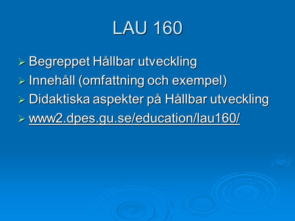 LAU 160 Begreppet Hållbar utveckling Innehåll (omfattning och exempel)