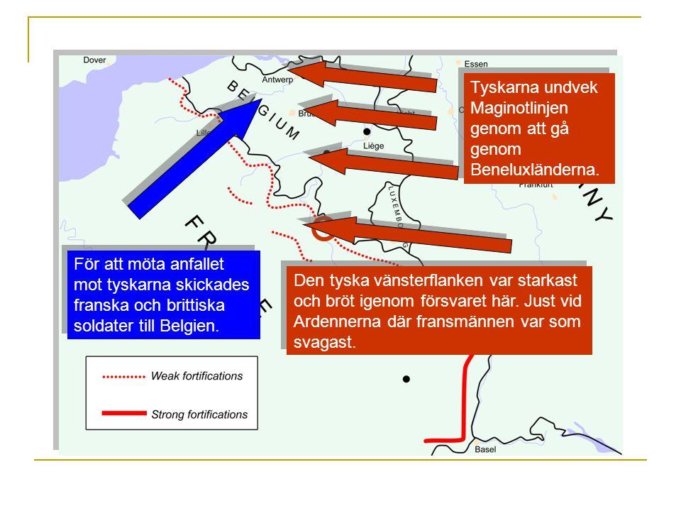 Tyskarna undvek Maginotlinjen genom att gå genom Beneluxländerna.