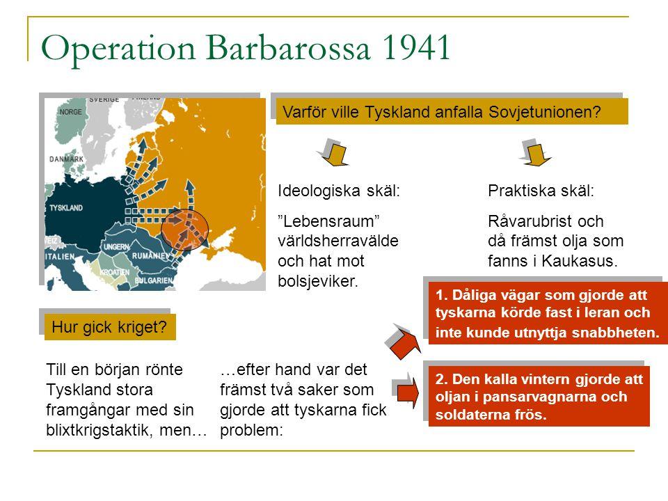Operation Barbarossa 1941 Varför ville Tyskland anfalla Sovjetunionen