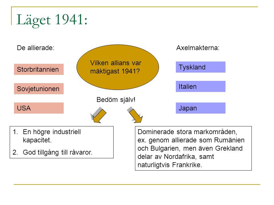 Läget 1941: De allierade: Axelmakterna:
