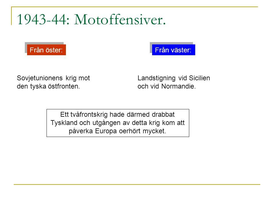 1943-44: Motoffensiver. Från öster: Från väster: