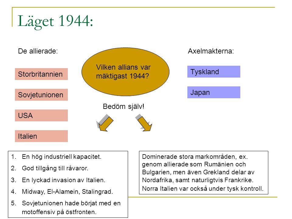 Läget 1944: De allierade: Axelmakterna: