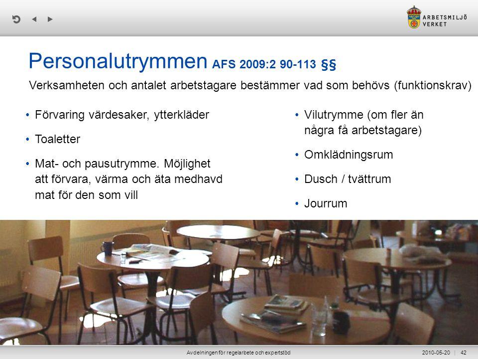 Personalutrymmen AFS 2009:2 90-113 §§