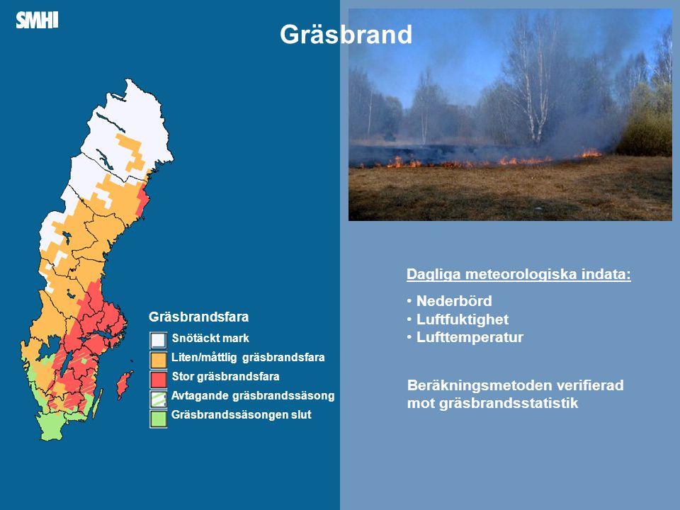 Gräsbrand Dagliga meteorologiska indata: Nederbörd Luftfuktighet