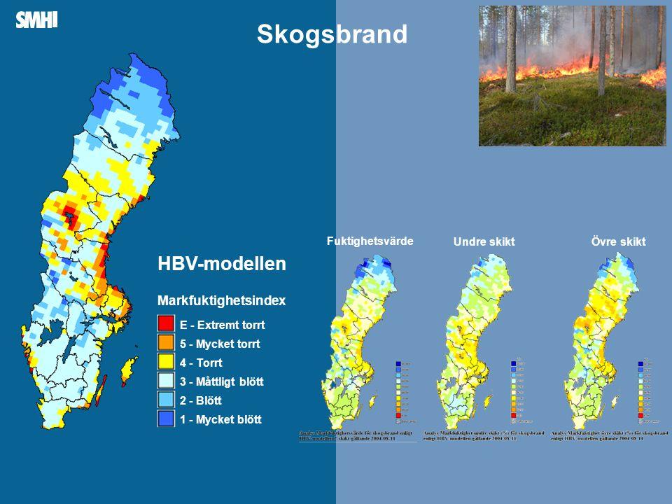Skogsbrand HBV-modellen Markfuktighetsindex Fuktighetsvärde Övre skikt