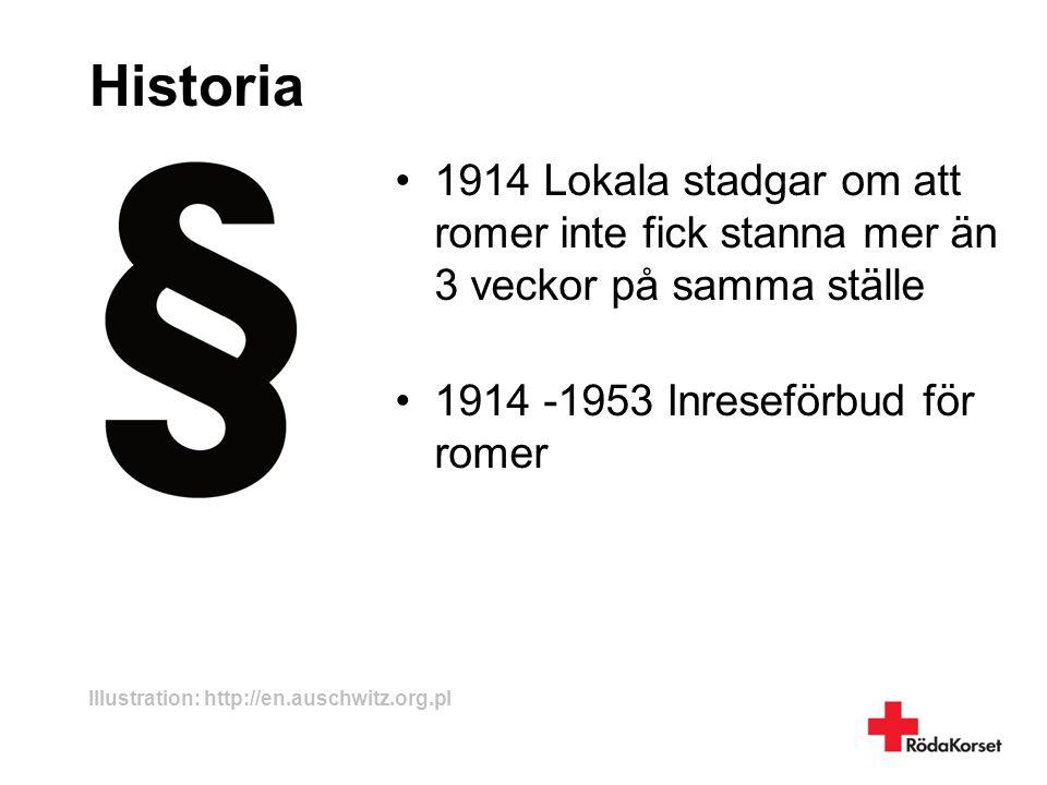Historia 1914 Lokala stadgar om att romer inte fick stanna mer än 3 veckor på samma ställe. 1914 -1953 Inreseförbud för romer.
