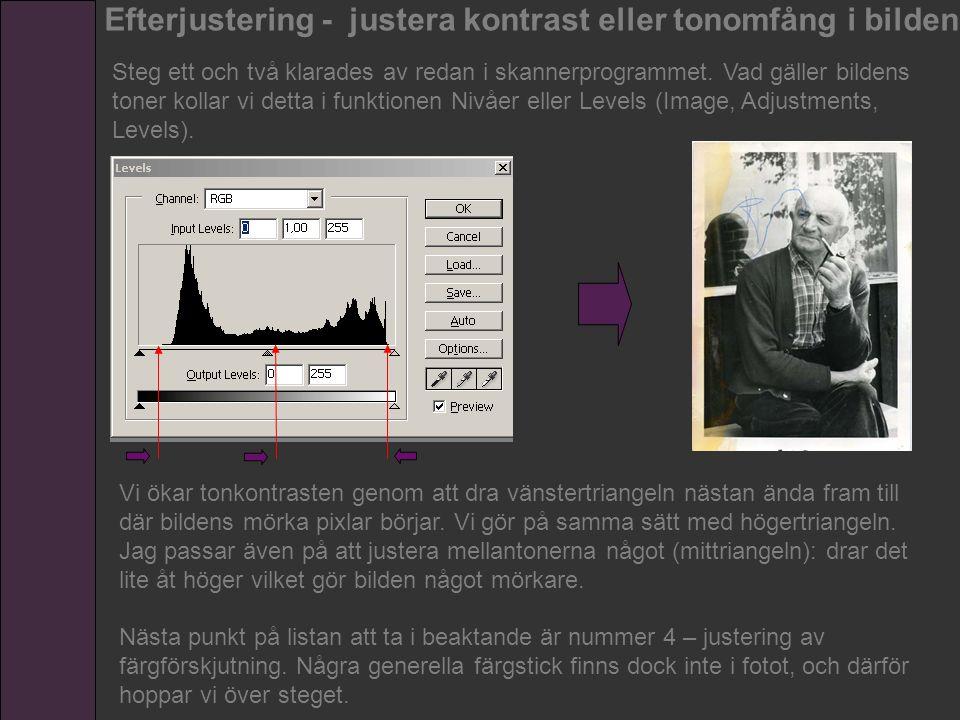 Efterjustering - justera kontrast eller tonomfång i bilden