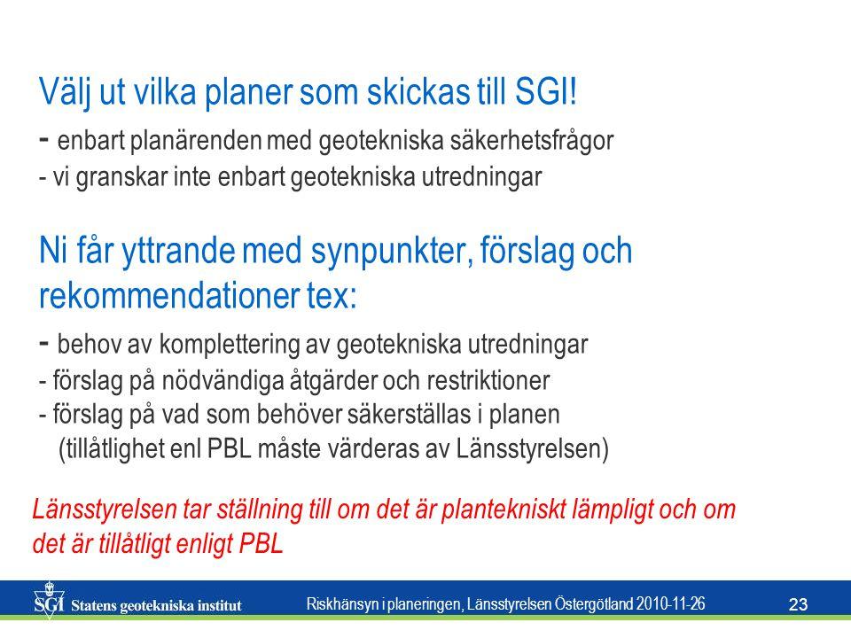 Välj ut vilka planer som skickas till SGI