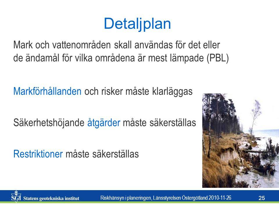 Detaljplan Mark och vattenområden skall användas för det eller de ändamål för vilka områdena är mest lämpade (PBL)