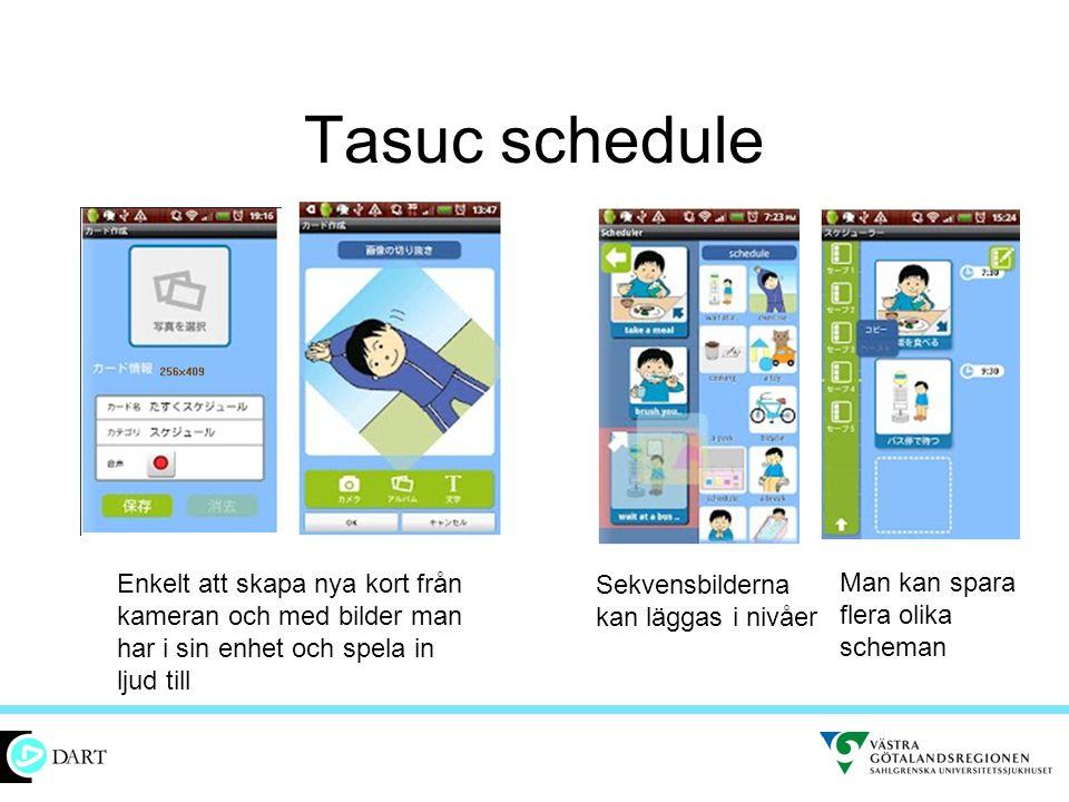 Tasuc schedule Enkelt att skapa nya kort från kameran och med bilder man har i sin enhet och spela in ljud till.