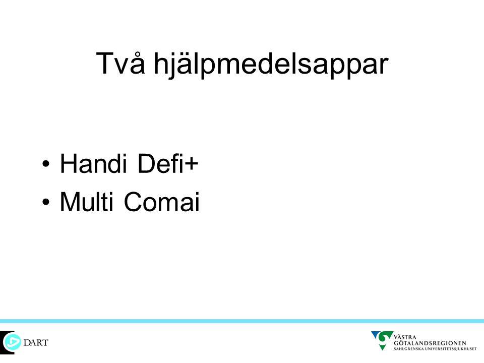 Två hjälpmedelsappar Handi Defi+ Multi Comai