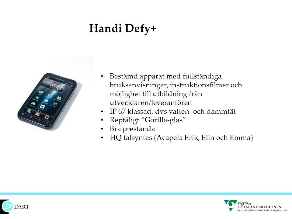 Handi Defy+ Bestämd apparat med fullständiga bruksanvisningar, instruktionsfilmer och möjlighet till utbildning från utvecklaren/leverantören.