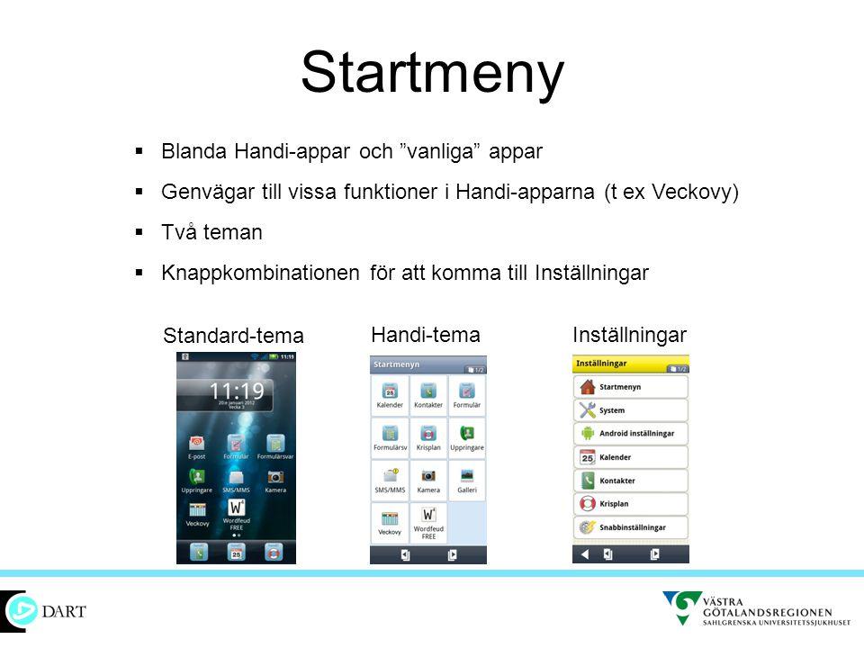 Startmeny Blanda Handi-appar och vanliga appar