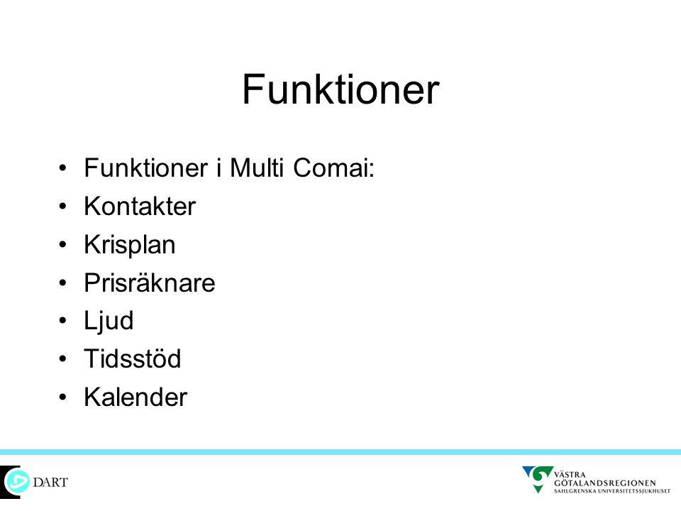 Funktioner Funktioner i Multi Comai: Kontakter Krisplan Prisräknare