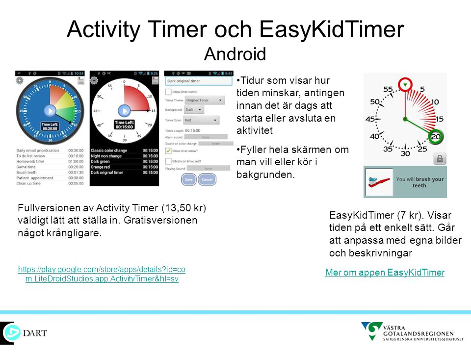 Activity Timer och EasyKidTimer Android