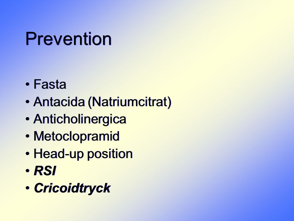 Prevention Fasta Antacida (Natriumcitrat) Anticholinergica