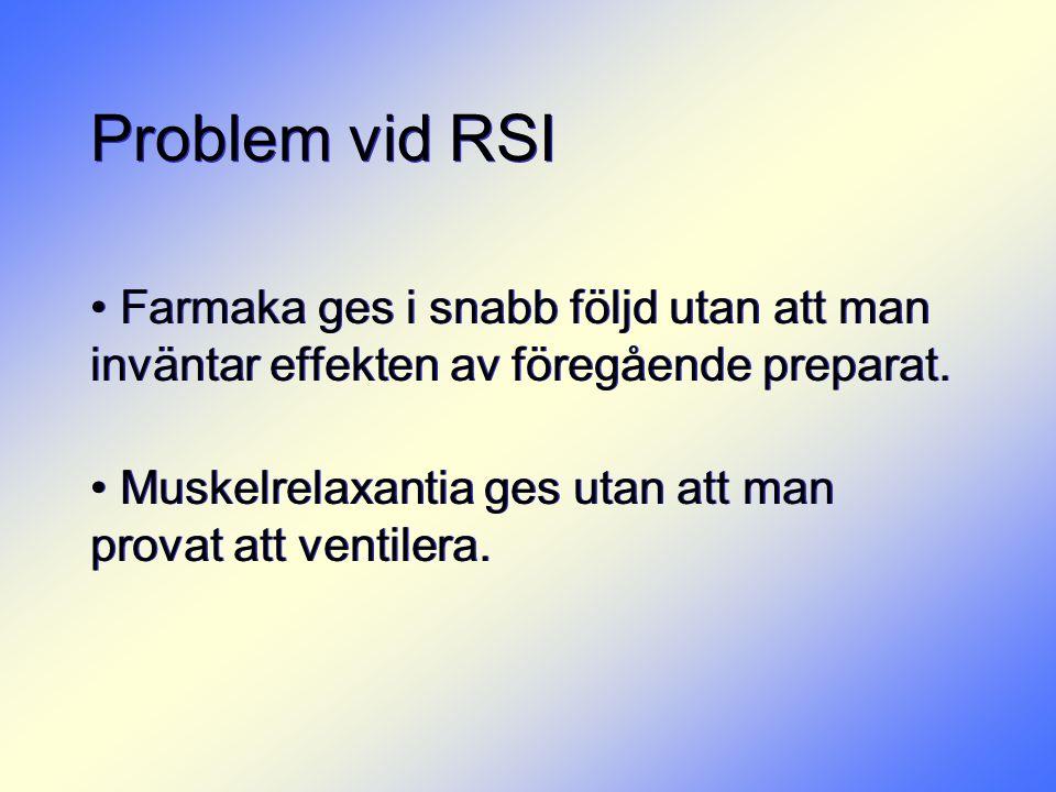 Problem vid RSI Farmaka ges i snabb följd utan att man inväntar effekten av föregående preparat.