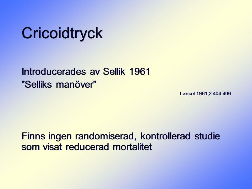 Cricoidtryck Introducerades av Sellik 1961 Selliks manöver