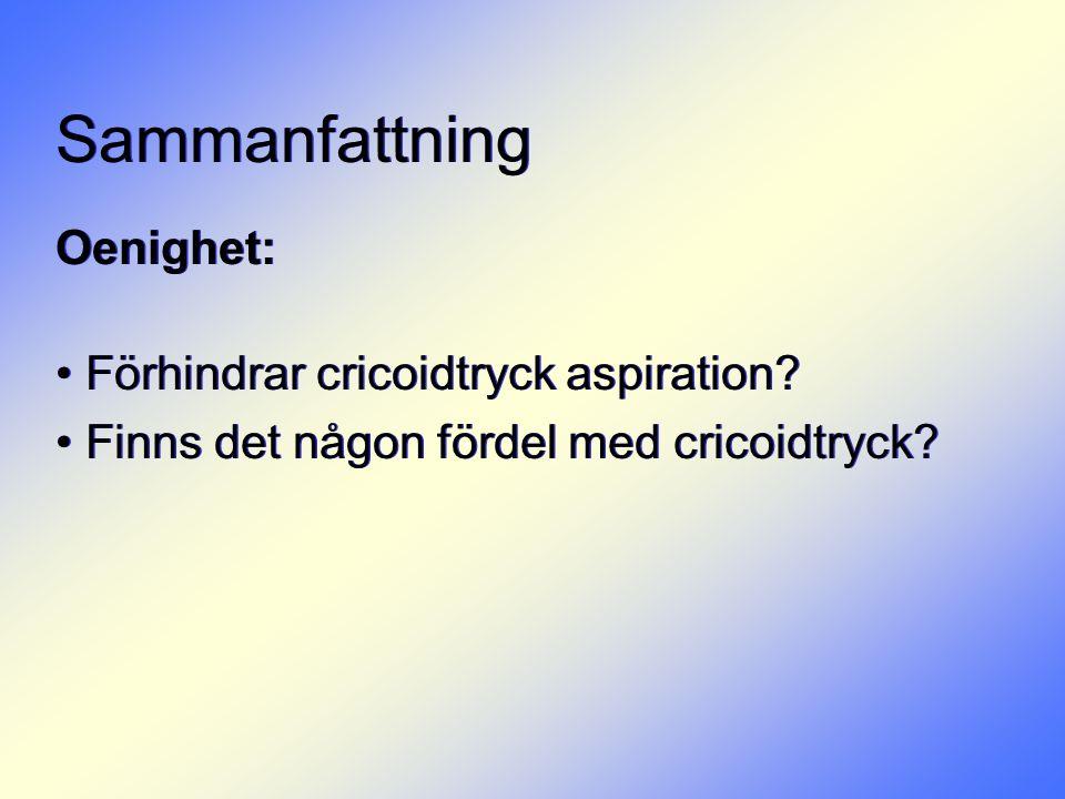 Sammanfattning Oenighet: Förhindrar cricoidtryck aspiration
