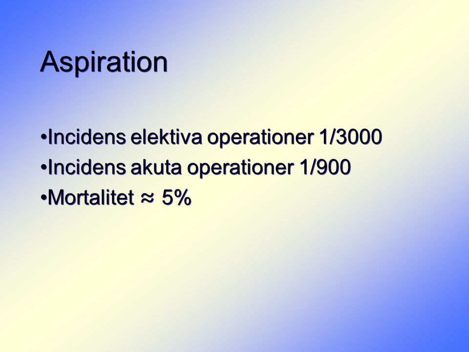 Aspiration Incidens elektiva operationer 1/3000