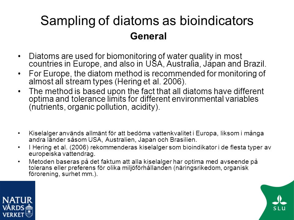 Sampling of diatoms as bioindicators General
