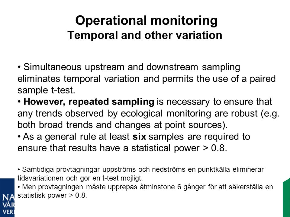 Operational monitoring Temporal and other variation