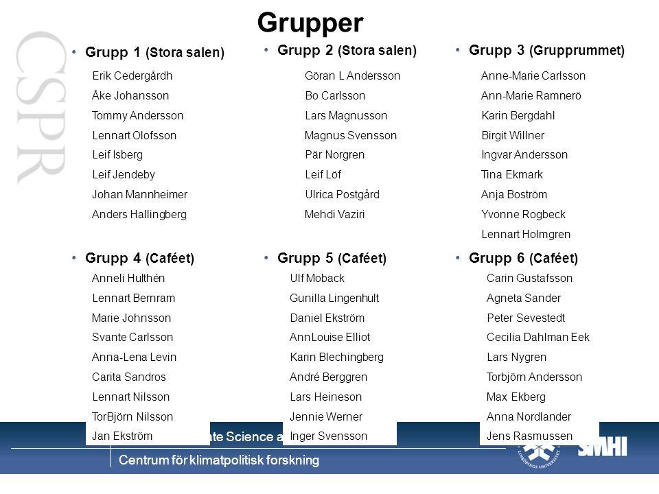 Grupper Grupp 1 (Stora salen) Grupp 2 (Stora salen)