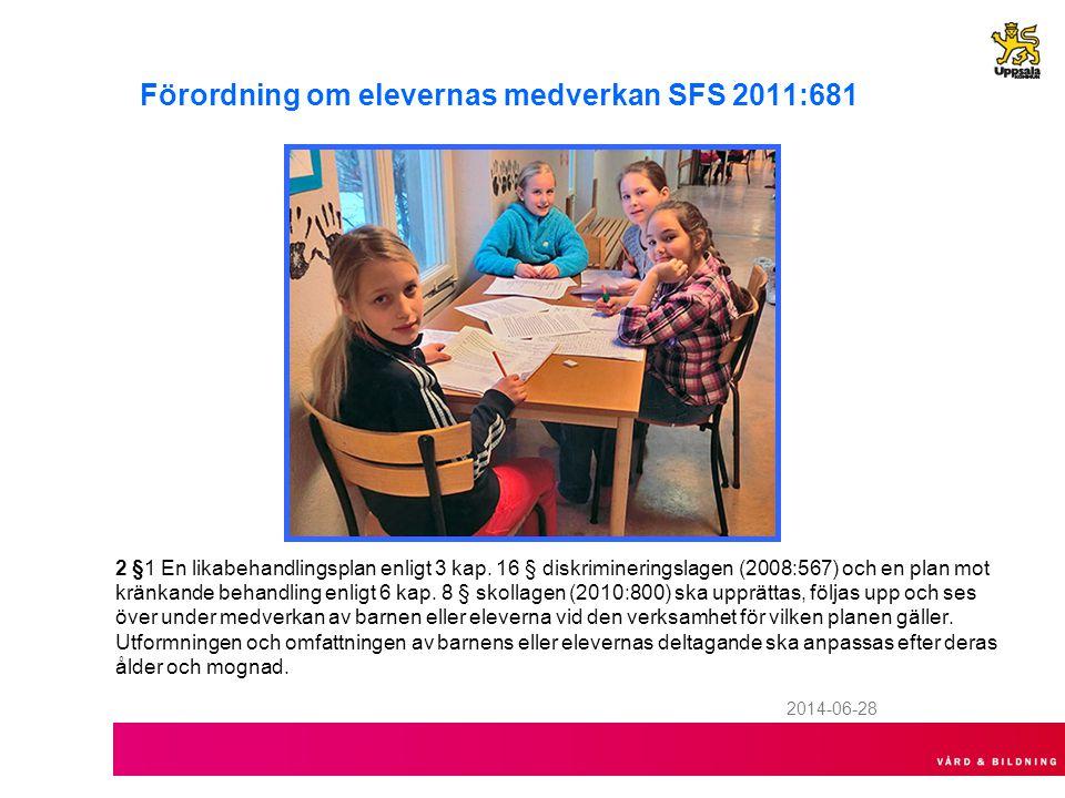 Förordning om elevernas medverkan SFS 2011:681