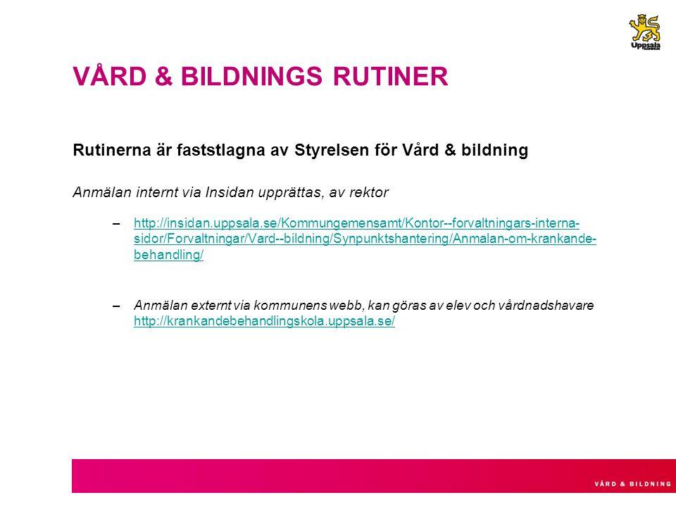 VÅRD & BILDNINGS RUTINER