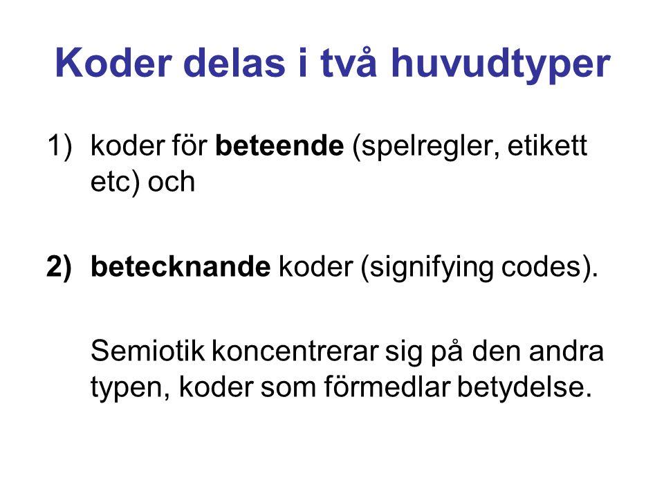 Koder delas i två huvudtyper