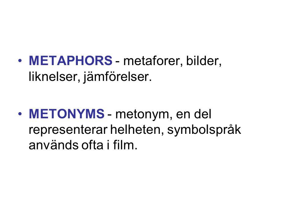METAPHORS - metaforer, bilder, liknelser, jämförelser.