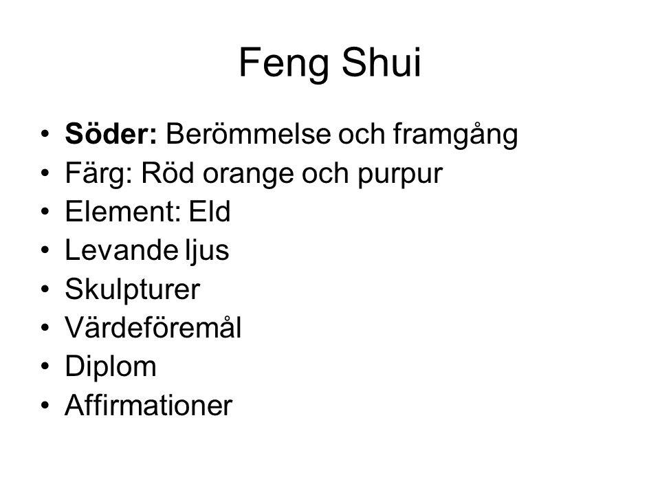 Feng Shui Söder: Berömmelse och framgång Färg: Röd orange och purpur