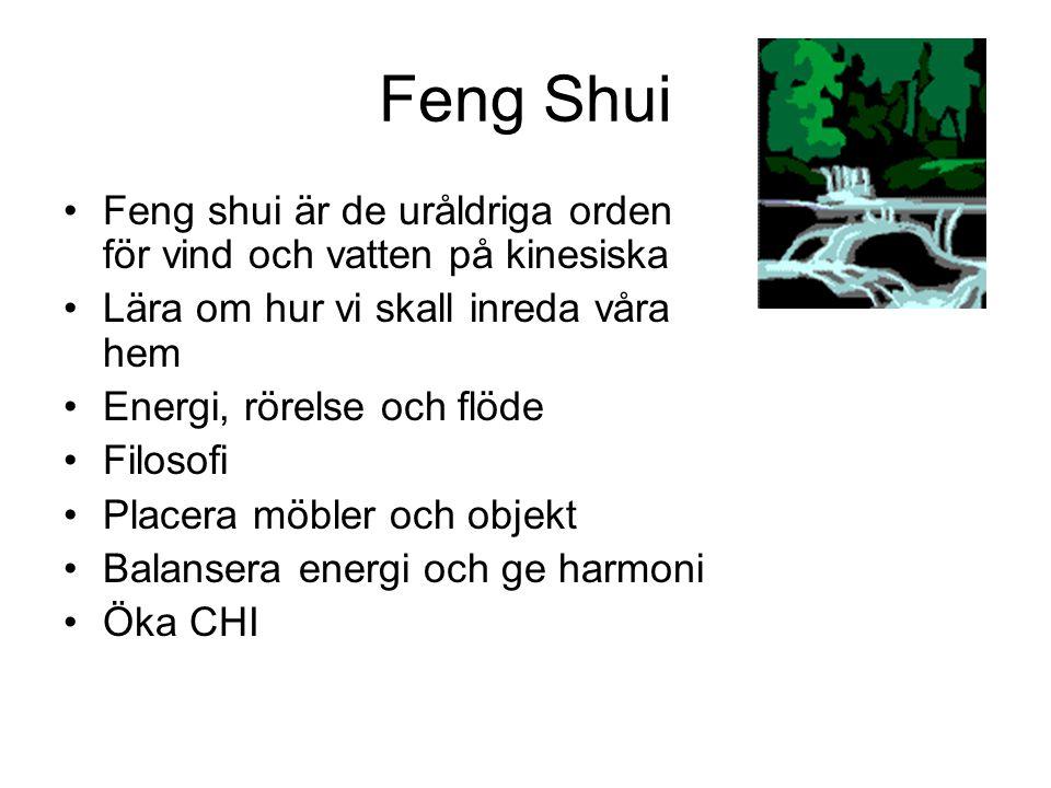 Feng Shui Feng shui är de uråldriga orden för vind och vatten på kinesiska. Lära om hur vi skall inreda våra hem.