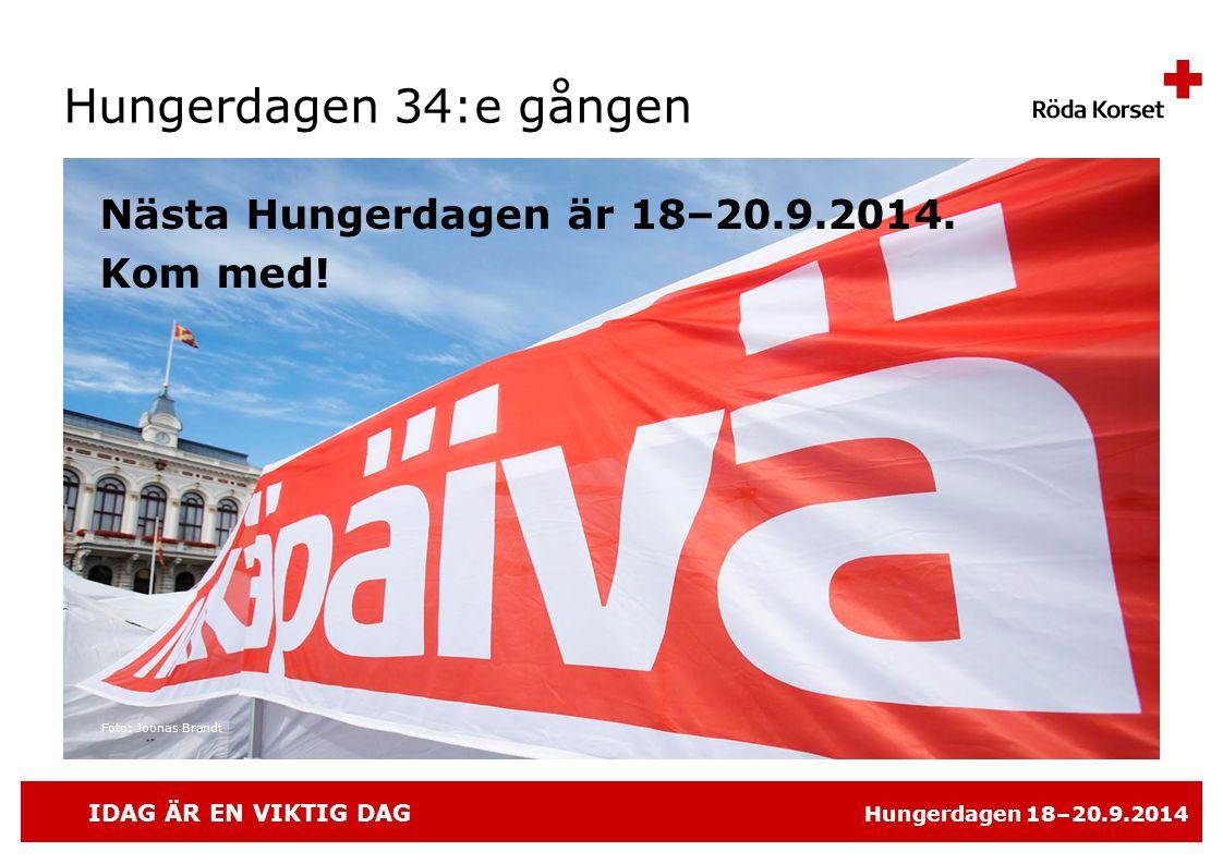 Hungerdagen 34:e gången Nästa Hungerdagen är 18–20.9.2014. Kom med!
