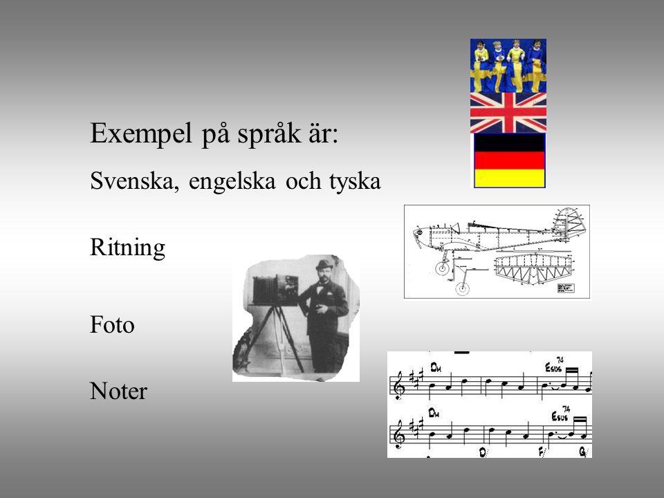 Svenska, engelska och tyska