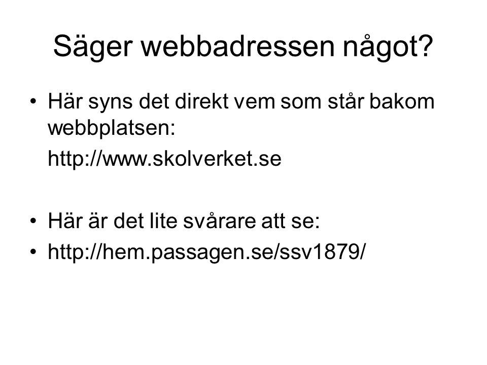 Säger webbadressen något