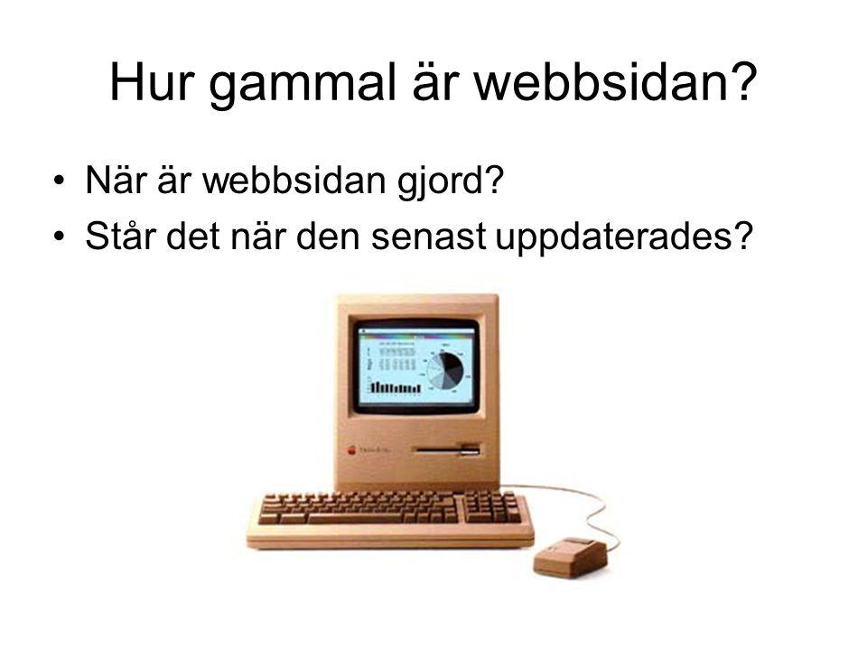 Hur gammal är webbsidan