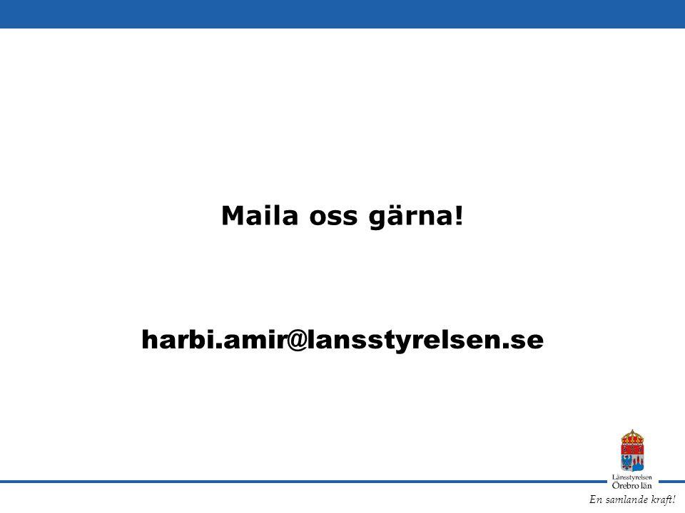Maila oss gärna! harbi.amir@lansstyrelsen.se